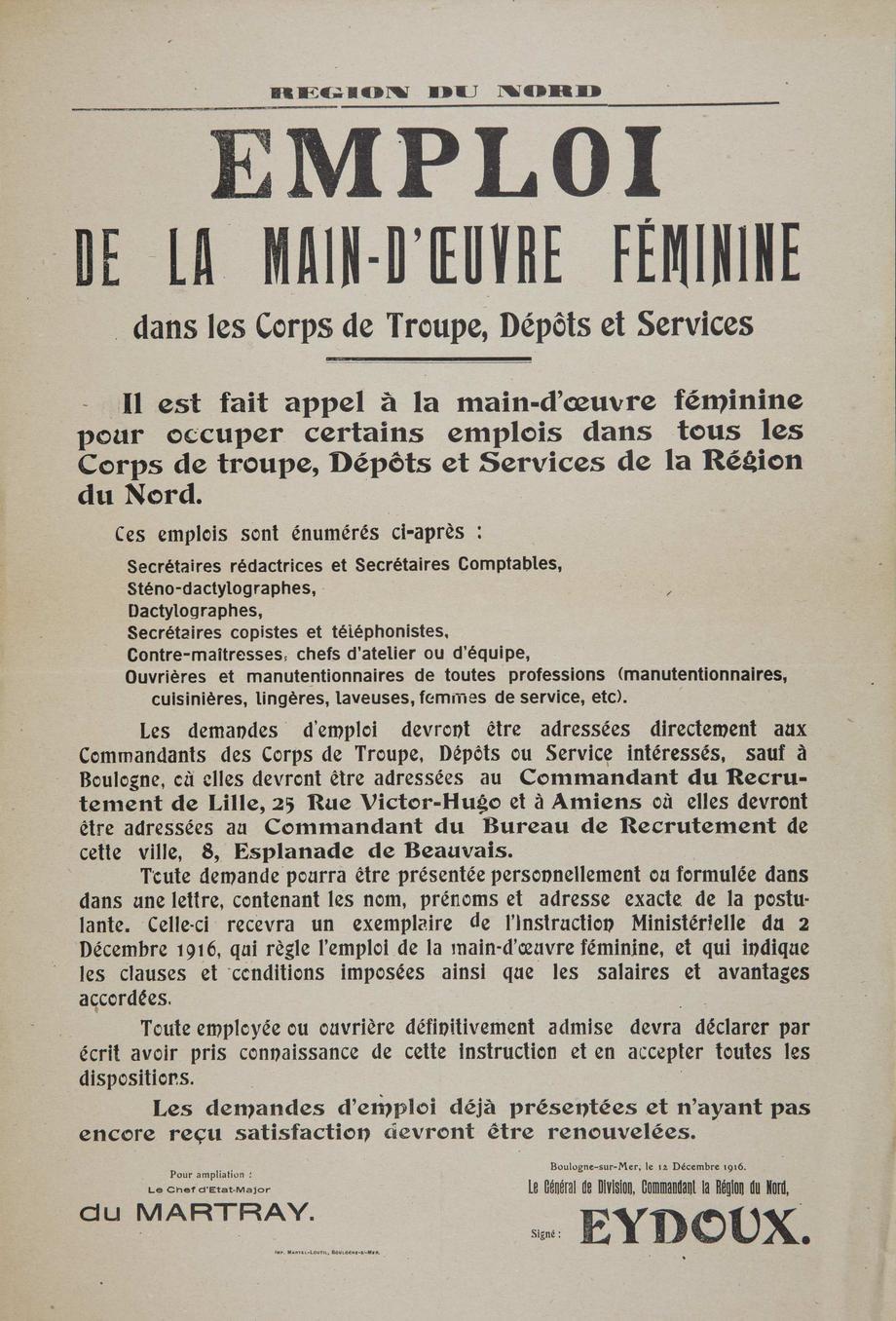 Le 4 avril 1917 le travail des femmes 1917 l 39 coute des t moins chroniques de la - Emploi femme de chambre lille ...